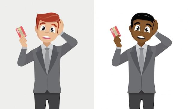 Personne Détenant Une Carte De Paiement Numérique. Homme D'affaires Choqué Avec La Main Sur La Tête Pour Erreur, Vecteur Premium