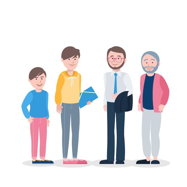 Une Personne De Différents âges Illustration Vecteur gratuit