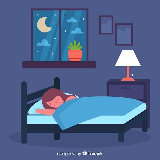 Personne dormant dans un lit dans un style plat Vecteur gratuit