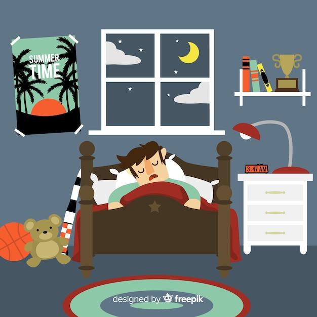 Personne, dormir, lit, fond Vecteur gratuit