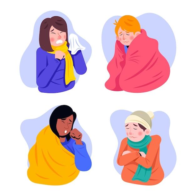 Une Personne Avec Un Ensemble Froid Illustré Vecteur gratuit