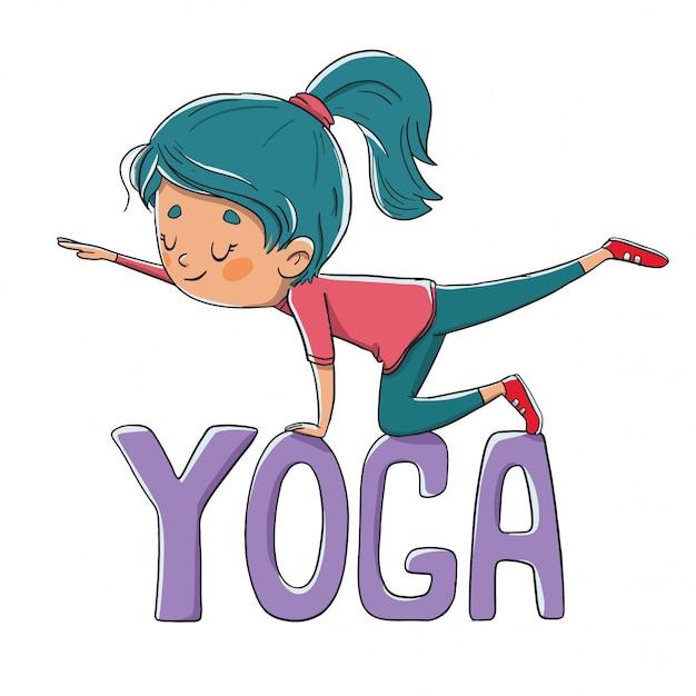 Personne faisant du yoga ou du pilates Vecteur Premium