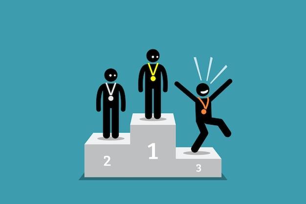 La Personne En Forme De Bâton à La Troisième Place Est Plus Heureuse Que Les Personnes à La Première Et à La Deuxième Place. Vecteur Premium