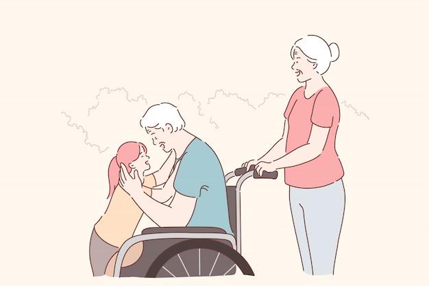 Personne Handicapée, Soins Familiaux. Homme âgé Handicapé En Fauteuil Roulant Marchant Avec La Famille Dans Le Parc, Heureuse Petite-fille étreignant Grand-père Handicapé, Soins Infirmiers Et Assistance. Appartement Simple Vecteur Premium