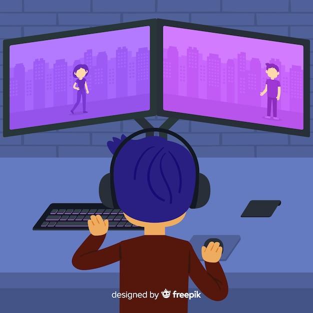 Personne jouant à un jeu d'ordinateur Vecteur gratuit