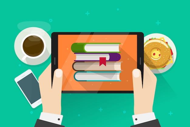 Personne lisant des livres électroniques sur tablette Vecteur Premium