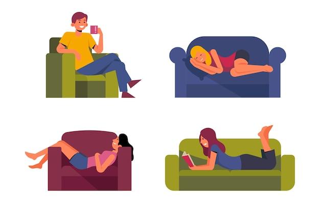 Une Personne à La Maison Relaxant Illustration Vecteur gratuit