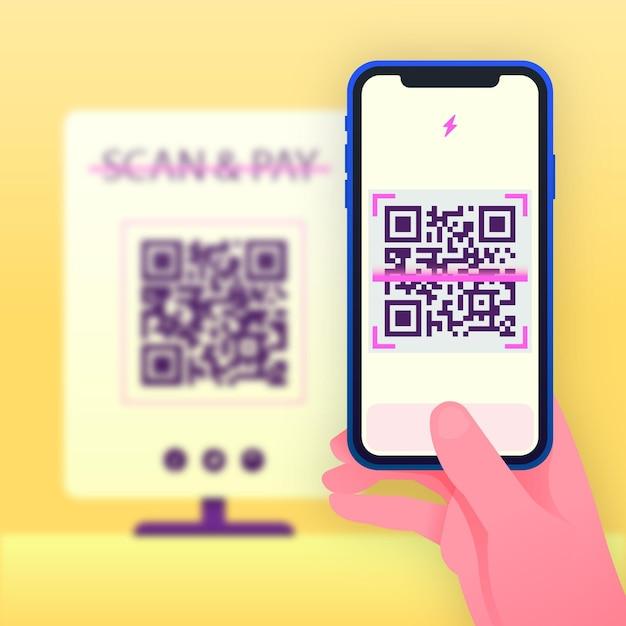 Personne Numérisant Un Code Qr Avec Un Smartphone Vecteur gratuit