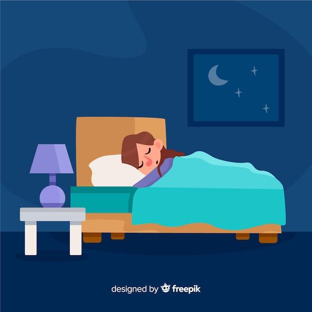 Personne plate dormant dans son lit Vecteur gratuit