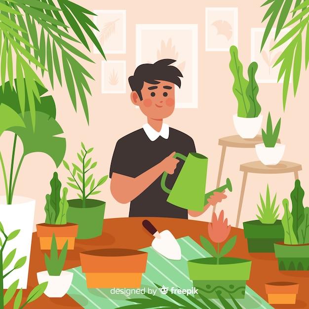 Personne qui prend soin des plantes Vecteur gratuit