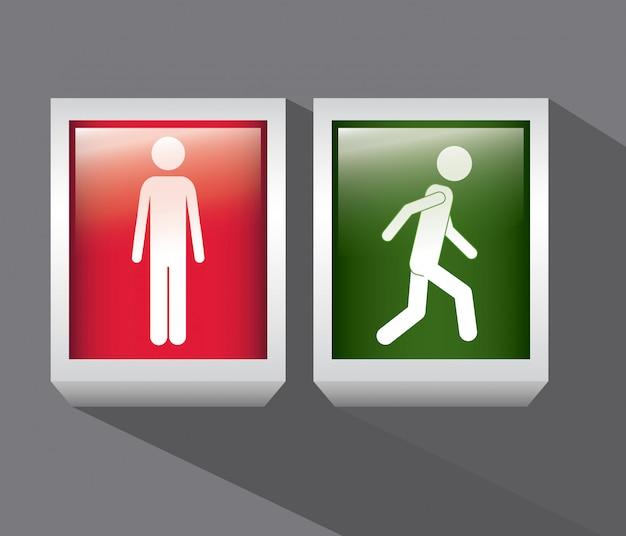 Personne rouge et verte. arrêtez-vous et marchez. conception de signe. Vecteur Premium
