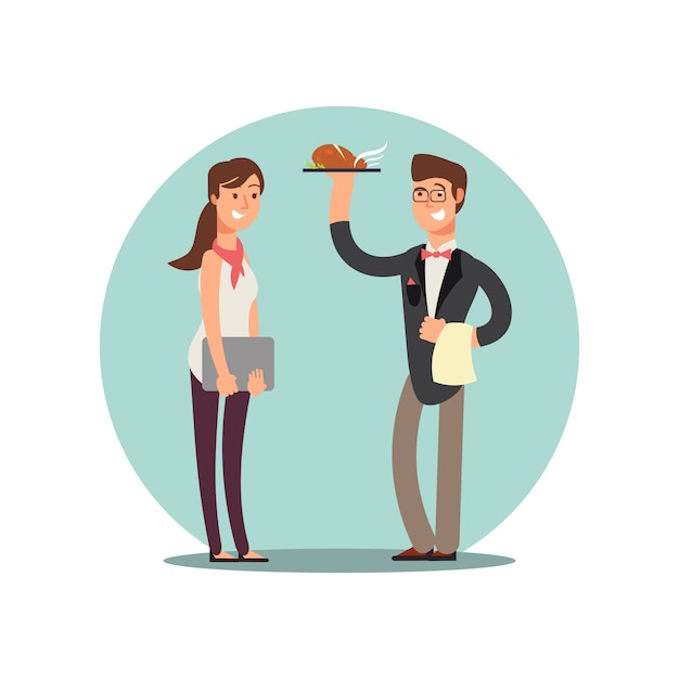 Personnel Du Restaurant Souriant Dans Les Personnages De Dessins Animés De Cuisine Vecteur Uniforme Vecteur Premium