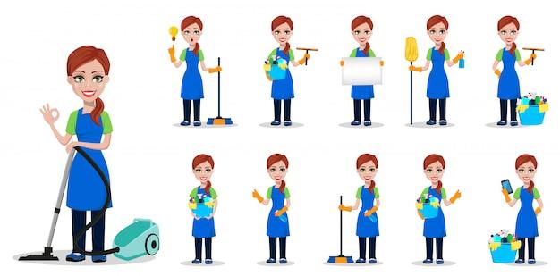 Personnel de l'entreprise de nettoyage en uniforme, ensemble Vecteur Premium