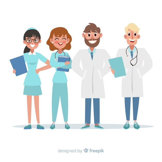 Personnel Médical Plat D'un Hôpital Vecteur gratuit