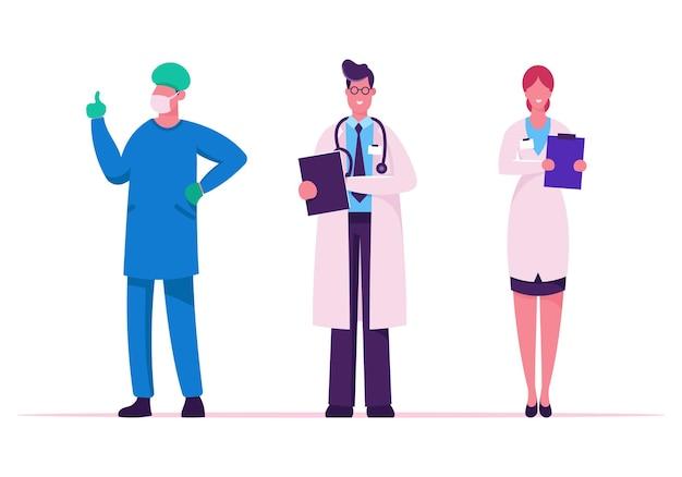 Personnel De Santé Hospitalier. Illustration Plate De Dessin Animé Vecteur Premium