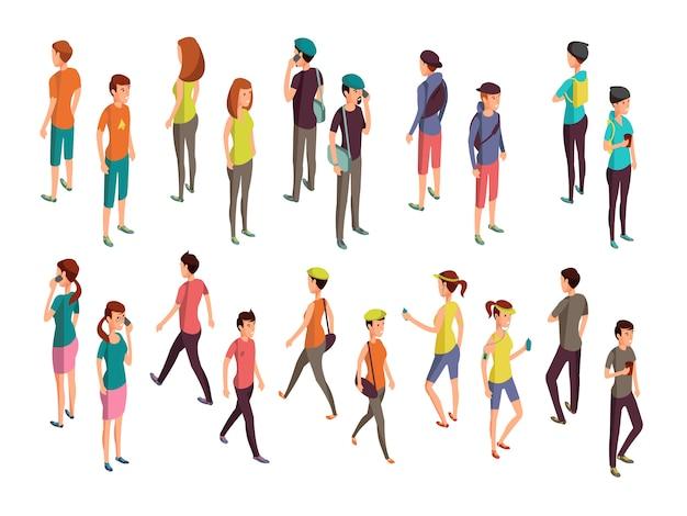 Personnes 3d Isométriques. Jeu De Vecteur De Jeunes Occasionnels Vecteur Premium