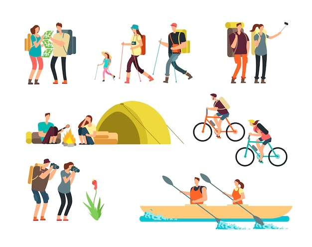 Les personnes actives randonneurs. famille de dessin animé voyageant en plein air. randonnée pédestre et trekking vecteur de personnages isolés Vecteur Premium