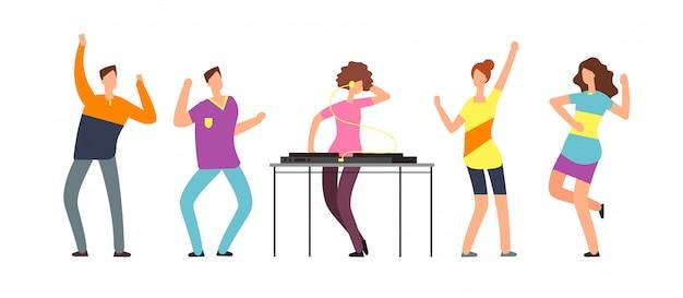 Les personnes adultes dansent. Vecteur Premium