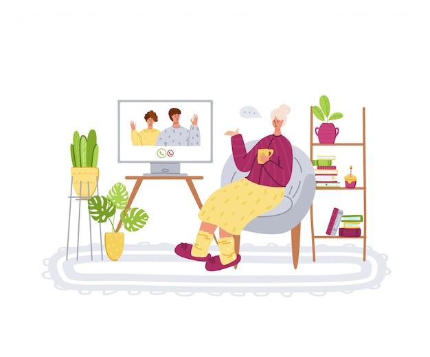 Personnes âgées Et Communication En Ligne - Les Jeunes Parents Appellent Les Grands-parents, Le Chat En Ligne Et L'appel Vidéo Vecteur Premium