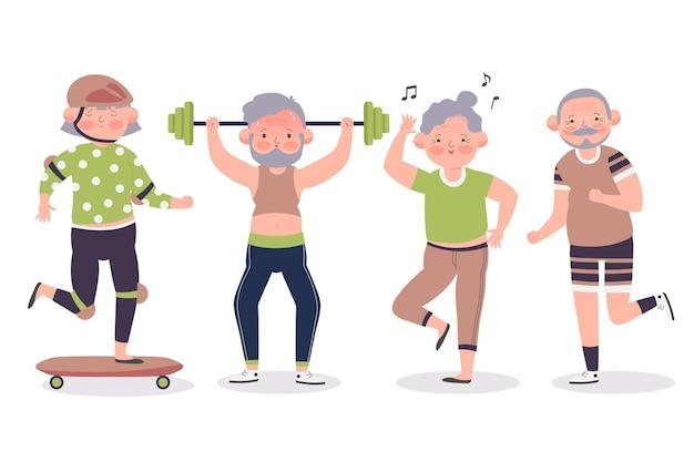 Les Personnes âgées Faisant Du Sport Vecteur gratuit