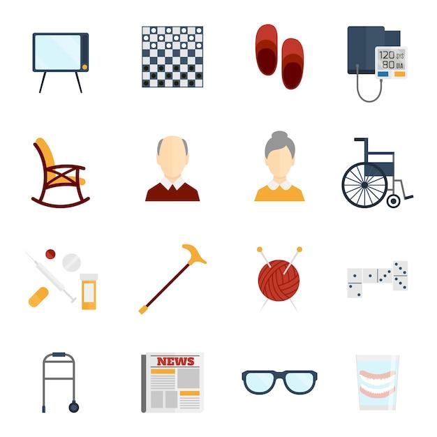 Les personnes âgées icônes collection Vecteur gratuit
