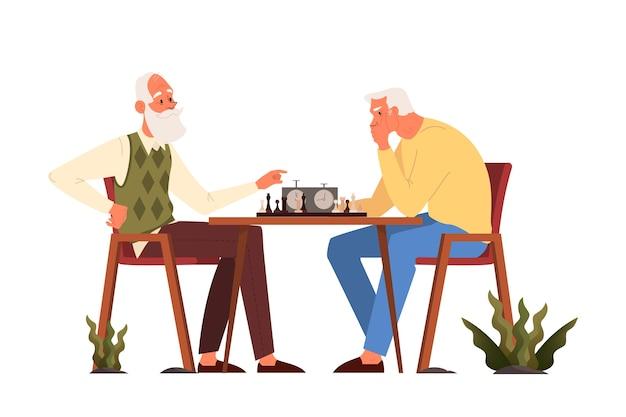 Les Personnes âgées Jouent Au Ches. Personnes âgées Assises à La Table Avec échiquier. Tournoi D'échecs Entre Deux Vieillards. Vecteur Premium