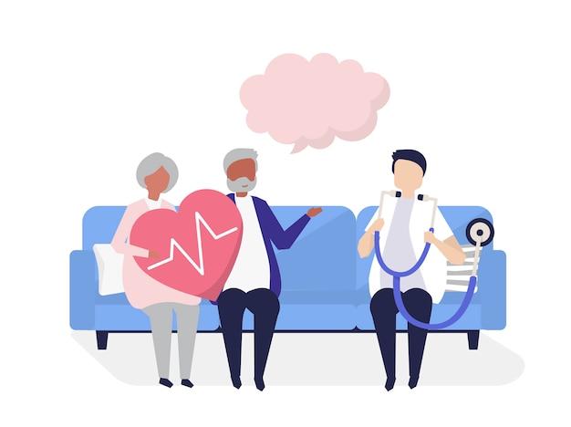 Personnes âgées recevant un bilan de santé dans un hôpital Vecteur gratuit