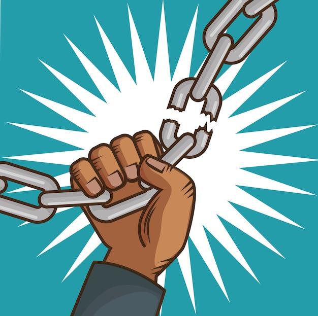 Personnes américaines afro briser une chaîne à la main Vecteur Premium