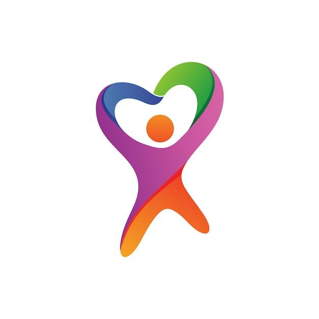 Personnes avec amour forme logo vecteur Vecteur Premium