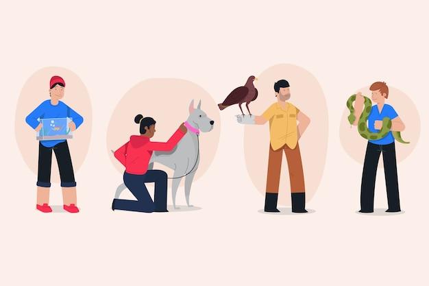 Personnes Avec Des Animaux Différents Vecteur gratuit
