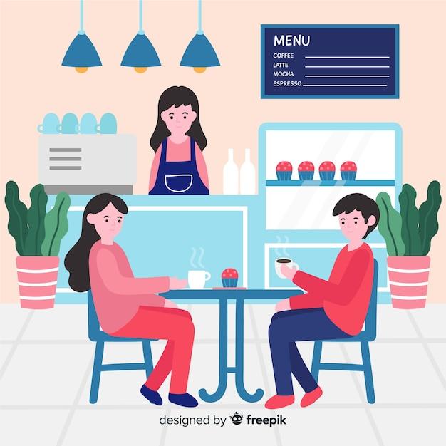 Personnes assises au café design plat Vecteur gratuit