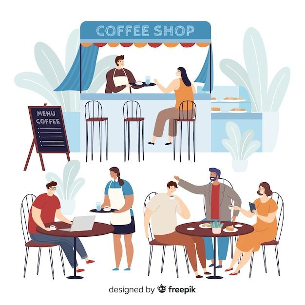 Personnes Assises Au Café Vecteur gratuit