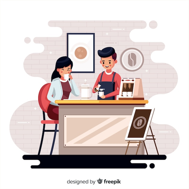 Personnes assises dans un café Vecteur gratuit