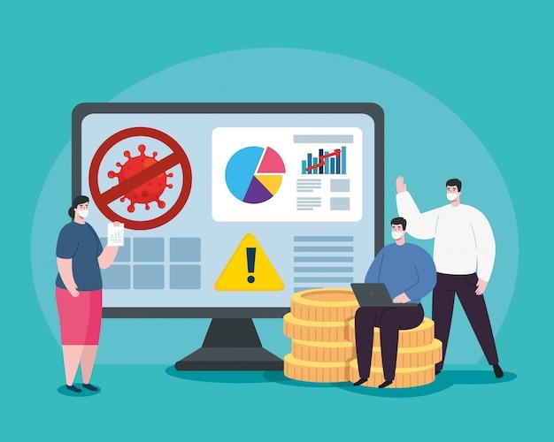 Personnes Atteintes D'infographie De La Récupération Financière Dans L'ordinateur Vecteur gratuit