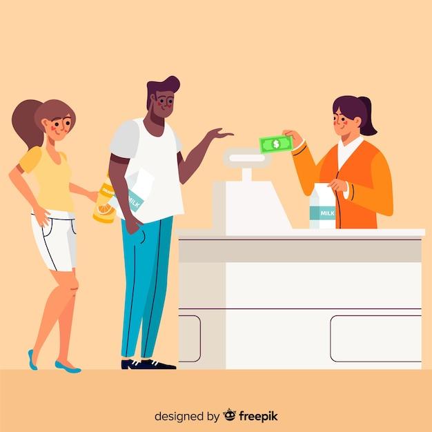 Personnes en attente de payer Vecteur gratuit