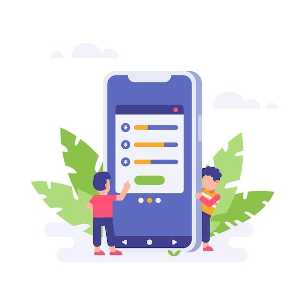 Les personnes en attente de téléchargement finissent avec un grand smartphone Vecteur Premium