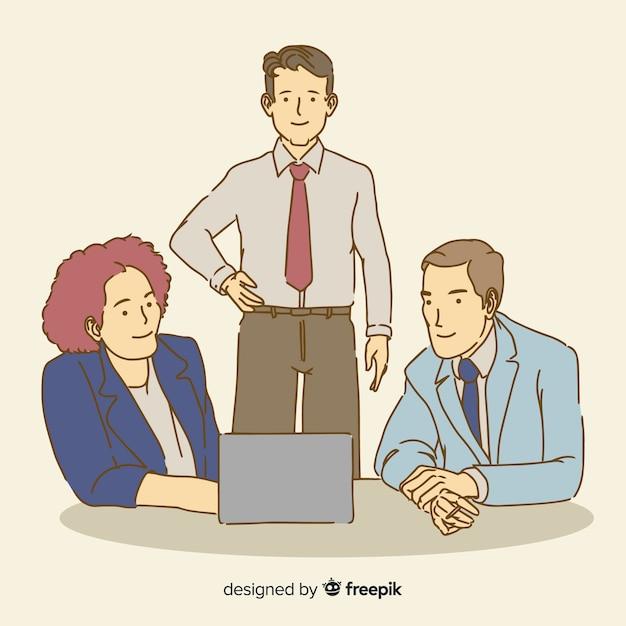 Personnes au bureau dans un style de dessin coréen Vecteur gratuit