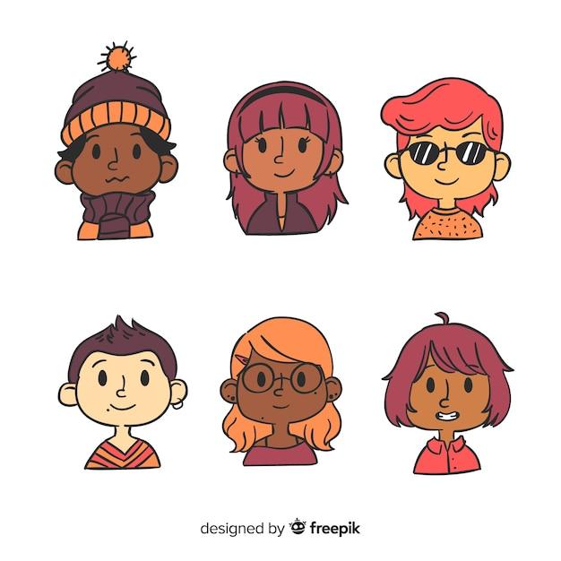 Personnes avatar pack dessiné à la main Vecteur gratuit