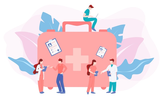 Les Personnes Ayant Une Consultation Avec Un Médecin. Médecin Soucieux De La Santé Du Patient. Vecteur Premium