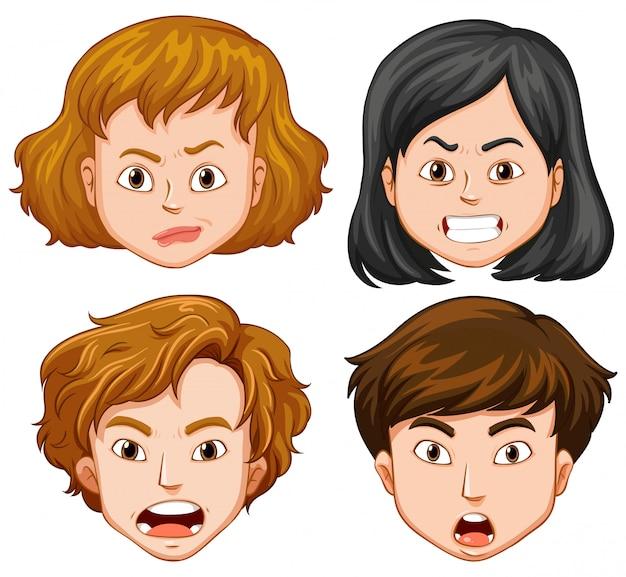 Personnes ayant différentes émotions faciales Vecteur Premium