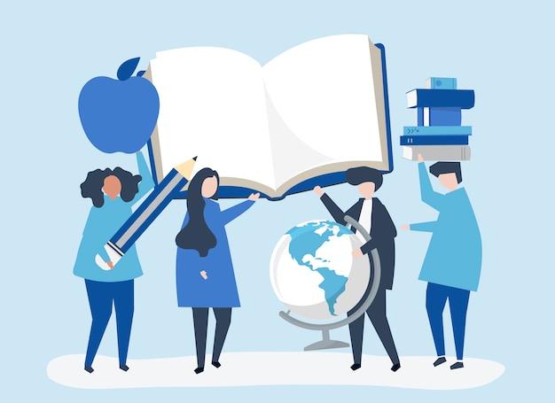 Personnes Ayant Des Icônes Liées à L'éducation Vecteur gratuit