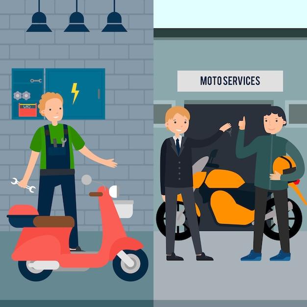 Personnes En Bannières Verticales De Service Moto Vecteur gratuit