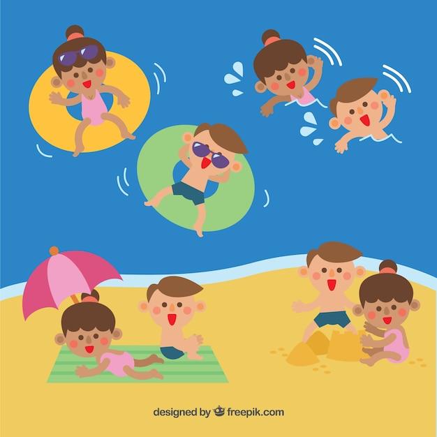 Personnes bénéficiant d'activités de loisirs en plein air Vecteur gratuit