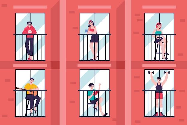 Les Personnes Bénéficiant De Staycation Sur Les Balcons Vecteur gratuit