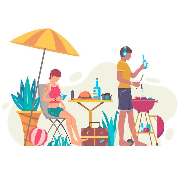 Les Personnes Bénéficiant De Staycation Vecteur gratuit