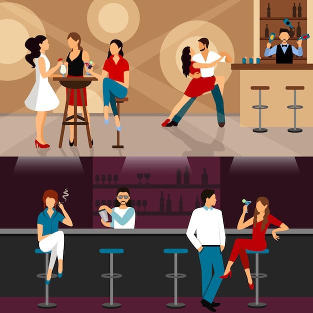 Personnes buvant au bar Vecteur gratuit