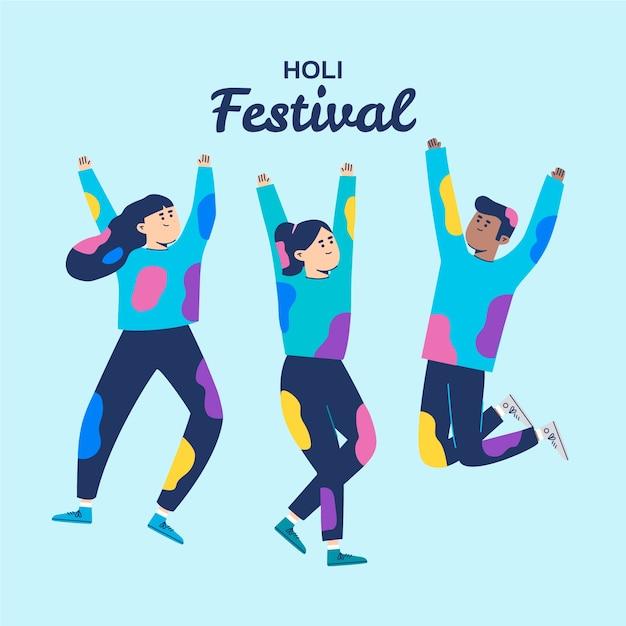 Personnes Célébrant Le Festival De Holi Sur Fond Bleu Vecteur gratuit