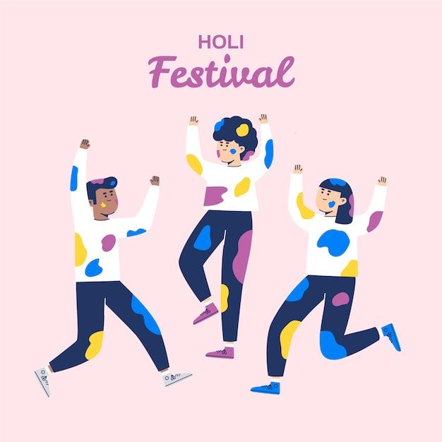 Personnes Célébrant Le Festival De Holi Sur Fond Rose Vecteur gratuit