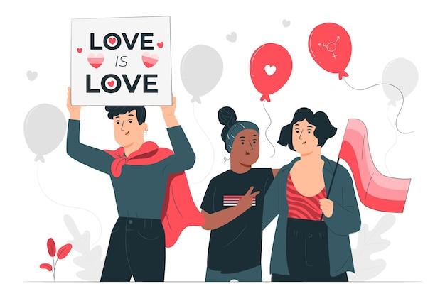 Personnes Célébrant L'illustration De Concept De Jour De Fierté Vecteur gratuit