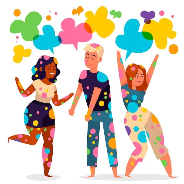 Personnes Célébrant L'illustration Du Festival De Holi Vecteur gratuit